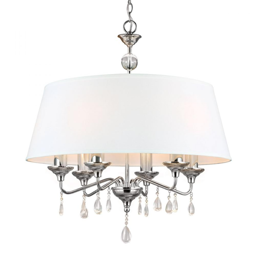 3110506-05 West Town Six Light West Town Six Light Chandelier in Chrome with White Faux Linen Shade Faux Linen Shade