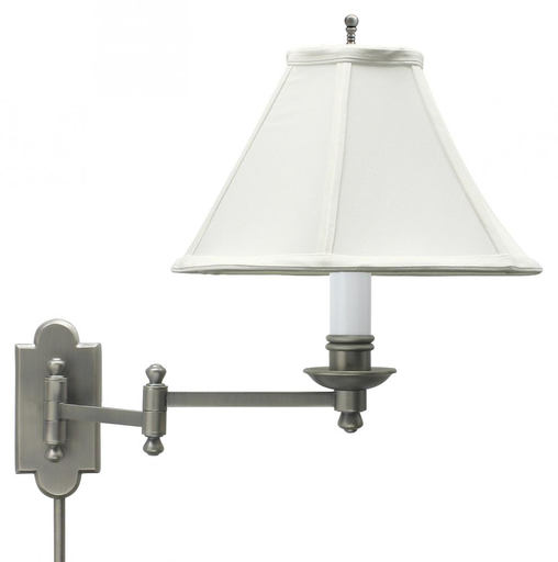 HOT CL225-AS ANT. SILVER SWING-ARM WALL LAMP 100W MED 3-WAY WITH WHITE SHADE