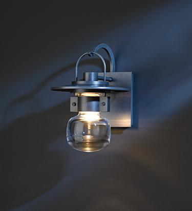 HUF 303001-20-ZM435 OUTDOOR SCONCE WITH THICK BLOWN GLASS BELL ALUMINUM, SMALL.
