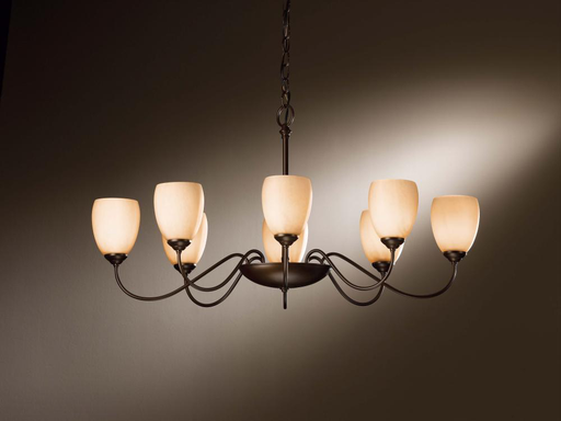 HUF 101304-20-ZX83 CHANDELIER: OVAL W/8 ARMS & GLASS OPTIONS WITH FRICTION SWIVEL FOR ALIGNMENT.