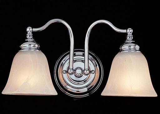 MURF VS6702-CH 2 LIGHT VANITY STRIP CHROME WHITE ALABASTER GLASS SHADE