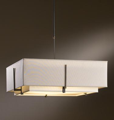 HUF 139635-07-PDRH ADJUSTABLE DOUBLE-SHADE PENDANT WITH FOUR LIGHTS AND SHADE OPTIONS, LARGE.