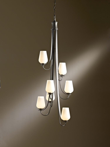 HUF 103037-07-ZS354 CHANDELIER WITH SEVEN ARMS AND GLASS OPTIONS.