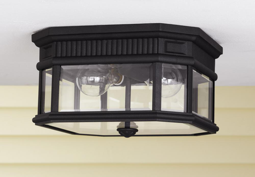 MURF OL5413BK OUTDOOR LANTERN BLACK CLEAR BEVELED GLASS SHADE2 - E 60 WATT