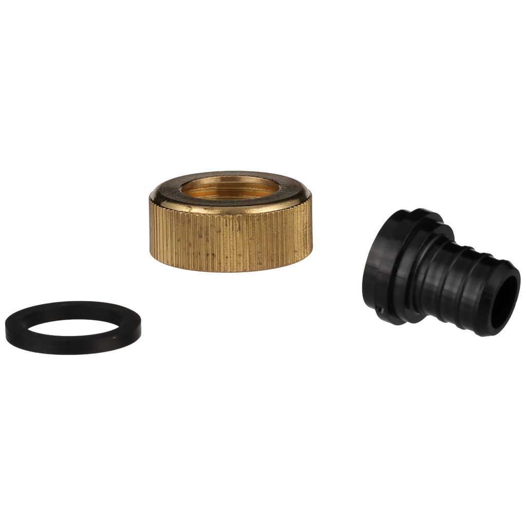 "(Crimp) CR Polymer Swivel Adapter – 3/8"" Barb x 1/2"" FPT Plastic Swivel Nut"