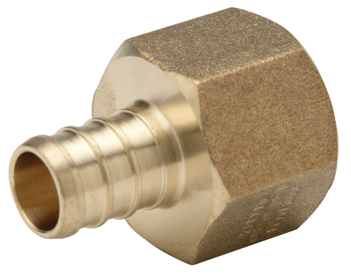 (Crimp) Brass Female Adapter - 1/2-Inch Barb x 3/4-Inch FPT, Small